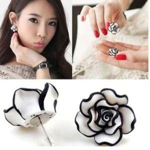 5/$24 Pair of White and Black Resin Post Earrings